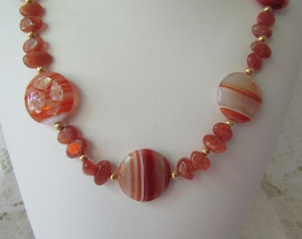 Sunset Sardonyx/Goldstone Necklace/ECS