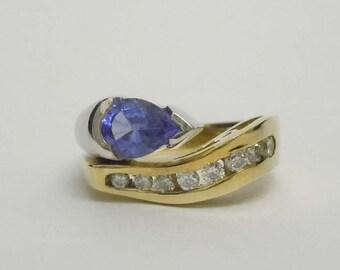 Two Tone 14kt Gold Diamond 1.25ct Tanzanite Statement Ring
