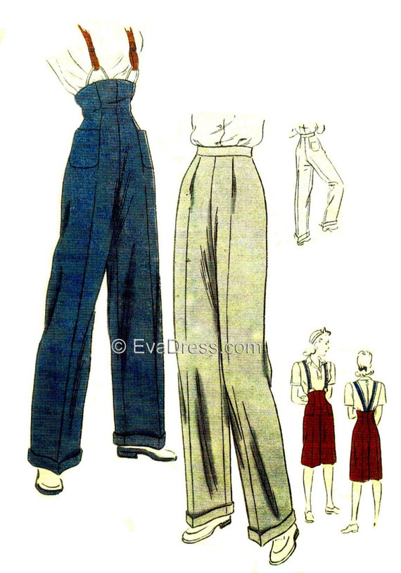 1940s Sewing Patterns – Dresses, Overalls, Lingerie etc 1945 Trousers or Clam-diggers Pattern by EvaDress $15.00 AT vintagedancer.com