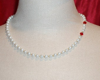 Playful Pearl & Swarovski Crystal 'Vampire Bite' Choker Collar w/14kt gold spacers
