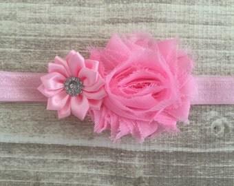 Newborn headband, baby girl headband, pink baby headband, pink headband, gift for baby, light pink headband