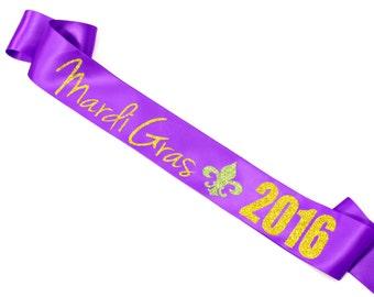 Mardi Gras Sash. Mardi Gras 2016. Mardi Gras. Custom Sash.