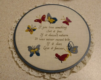 Cross Stitch Quote with Butterflies