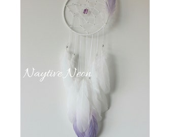 Dew Berry Dream catcher with purple crystal points and purple ombre feathers