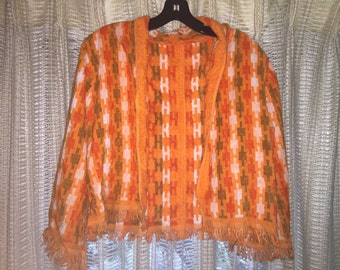 Orange terry cloth patterned cropped jacket