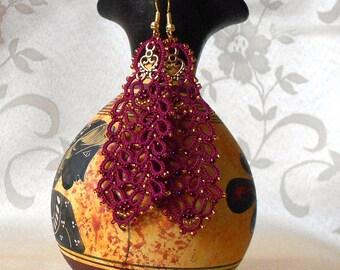 Wine red lace earrings, wine red earrings, tatted earrings, long earrings, statement earrings, tatting lace jewelry.