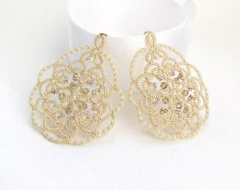 Wedding earrings Ivory earrings Round earrings Lace earrings Bridal Jewelry   Filigree Earrings Handmade Earrings  Flower Earrings Tatted