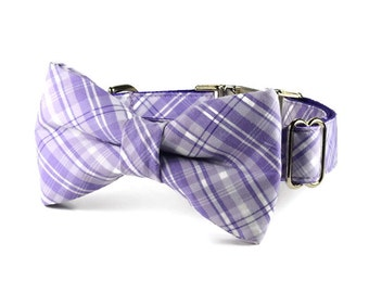 Lavender Plaid Dog Bow Tie Collar