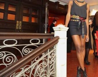 African print obi belt, red obi belt, leather belt, women belt,thin waist, corset, boho, ceinture cuir, S, M, L, Xl, coomon
