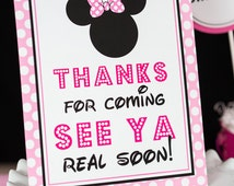 Thanks for Coming See Ya Real Soon Sign - Instant Download Minnie Mouse Party Sign by Printable Studio