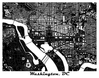 Washington, D.C. Map Art Print, White House, Capitol Hill, More Colors Available!