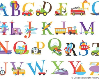 Transport theme alphabet colour vinyl wall stickers nursery playroom classroom removable printed to order upper case only