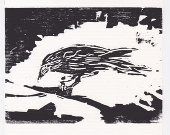 The clever raven-twig-nature-woodcut-print-Woodcut-Moku hanga-Print Graphics-limited edition-original Woodblock print