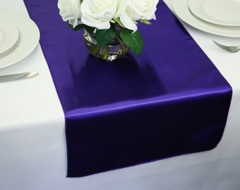 Wedding table runner etsy purple satin table runner wedding table runners junglespirit Images