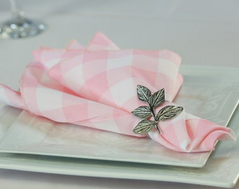 Pink and White Gingham Napkin Polyester | Gingham Checkered Napkins