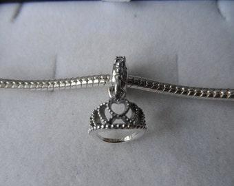925 Sterling Silver Dangle Tiara Charm/Bead - Compatible with Pandora & Chamillia