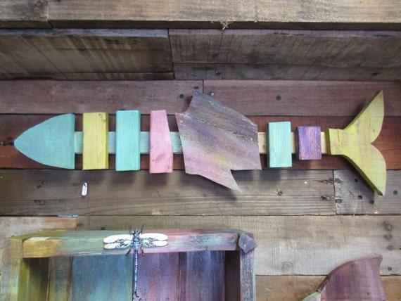 Home Decorators Key Wall Art ~ Funky island key west stye color wood bone fish wall art