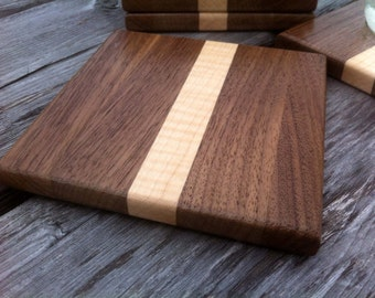 Cutting board style square wood coasters Curly Maple and Walnut