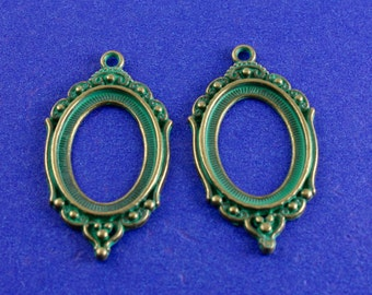 2 pcs- 25mm x 18mm Cameo Setting, Verdigris Green Cabochon Setting, Oval Setting