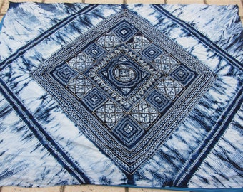 Blue Dyed Fabric, Hand Dyed indigo  Shibori Fabric ,100% cotton fabriic,square Fabric -150cm*200cm