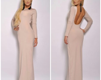 Ivory Maxi  Bodycon Open Back  Evening Gown Prom Dress