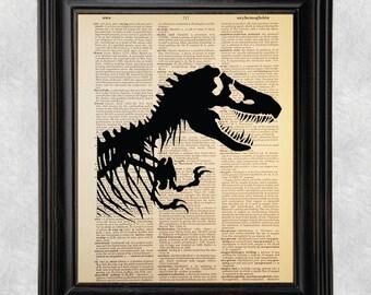 Jurassic Park, Dinosaur, Tyrannosaurus rex, Dictionary Art Print, Vintage, Recycled/Upcycled, Dictionary Book Page,  8 x 10 Print (#182)