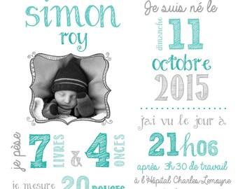 Poster remembrance of birth - file numerique_naissance, map remembrance of birth, new birth, personalized card