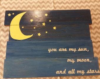 Sun Moon and Stars Reclaimed Wood Wall Art