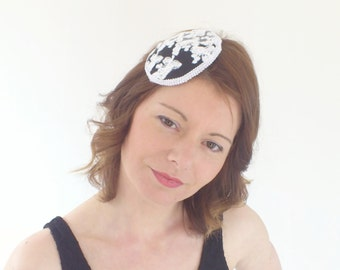 Shirley - Hat white black baroque retro vintage marriage