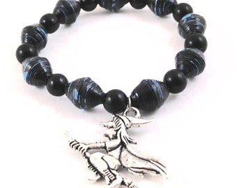 Paper Bead Bracelet - Silver Witch Charm - Eco Friendly