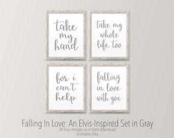 Printable wall art Master bedroom gallery wall art prints Gray wall art Elvis inspired lyric print Romantic art prints HEART OF LIFE Design