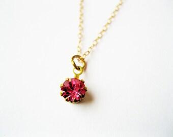 Swarovski pink pendant necklace, rose pink gold necklace, tiny pink  necklace, tiny pink pendant necklace, pink necklace, tiny jewelry