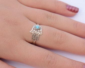 hand of god ring, silver opal hamsa ring, dainty hamsa, the original hamsa ring, opal hamsa, silver ring, filligree hand of god, universal