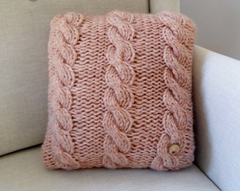 Pillow pink chunky knit with cabels wooden button - small cushion