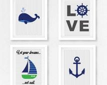 Nautical Wall Decor, Nautical Nursery Art, Nautical Decor, Sailboat Decor, Baby Boy Nursery Decor, Blue Grey Nursery, Baby Boy Baby Shower
