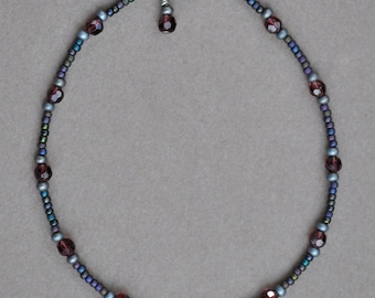 Dark Purple and Antique Silver Anklet