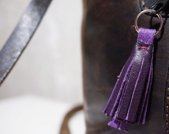 Real leather key tag tassel, violet/purple for zipper & keychain