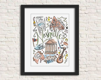 Nashville, Tennessee Handlettered Watercolor Illustration Art Print Gift // 8x10 and 11x14