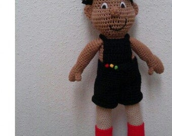 "Crocheted Boy Doll. Dreadlocks, ""Kadir"", 22 inches"