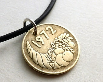 Algerian, Coin necklace, Coin jewelry, Cornucopia, Leather necklace, Coin, Middle Eastern, Fruit, Men's gift, Repurposed coin, Pendant, 1972