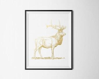 REAL FOIL Stag, Deer Foil Print