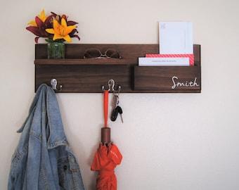 Wall Coat Rack Storage Key Hooks Floating Shelf