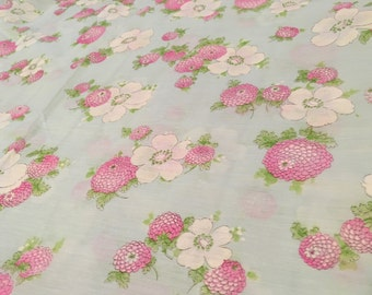 Vintage Floral Sheer Aqua and Pink Cotton Pastel Fabric