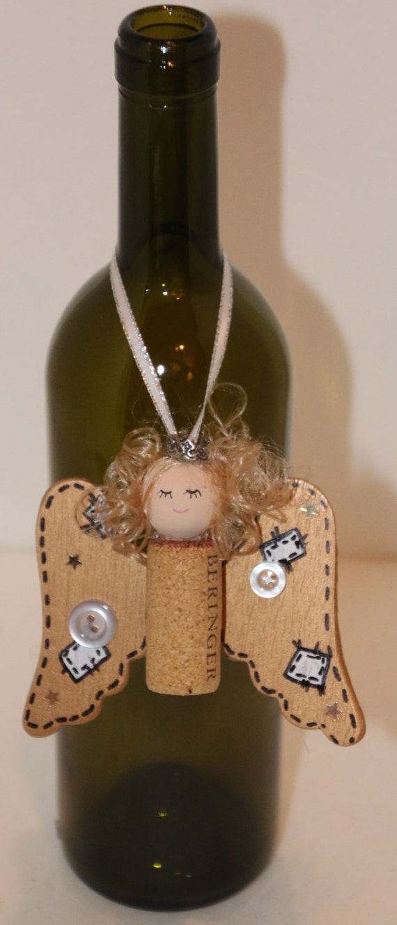 Angel ornament recycle wine cork or bottle necklace christmas for Cork balls for crafts