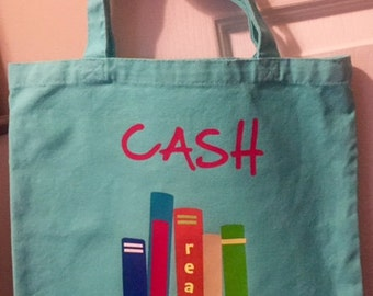 Kids Library Bag Personlaized with Iron On vinyl: Medium Size