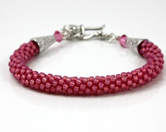 Pink Beaded Bracelet - Bangle Bracelet - Kumihimo Beaded Bracelet - Braided Bracelet - Gift Under 25 - Gift for Her - Pink Bracelet