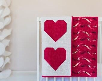 Mermaid Love Quilt - Heart Quilt - Handmade - Heather Ross Mendocino - Underwater Sisters - Pomegranate