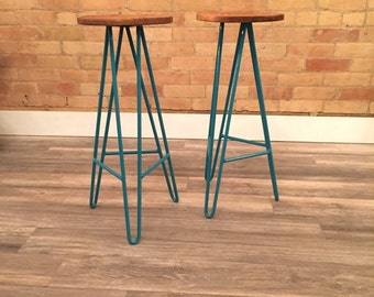 Teal Hairpin Stools