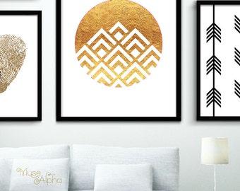 Printable Gold Triangle Art, Gold Geometric Wall Print, Gold Art, Gold Printable Art Gold Pyramids Art, Gold Prints, Gold Print, Gold Poster