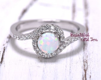 Womens Engagement Ring, Silver Lab Opal Ring, White Opal Ring, Opal Wedding Band, Promise Ring for Her, Opal Engagement Ring, Halo Ring